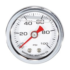 "Gauge, 100PSI, 1.5"" Liquid, WHT/SILVER"