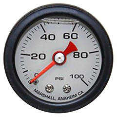 "Gauge, 100PSI, 1.5"" Liquid, WHT/BLK"